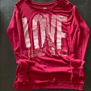 Justice girls size 18 sweater, dark red